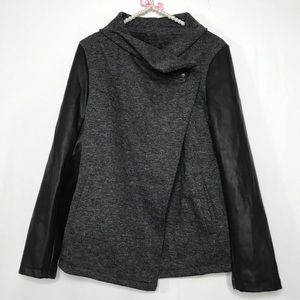 Fabletics Black and Gray Mixed Media Athletic Coat